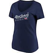 Majestic Women's Columbus Blue Jackets Goal Cage Navy V-Neck T-Shirt