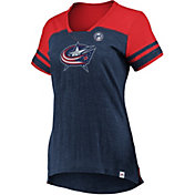 Majestic Women's Columbus Blue Jackets Hyper Navy V-Neck T-Shirt