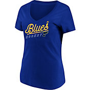 Majestic Women's St. Louis Blues Goal Cage Blue V-Neck T-Shirt