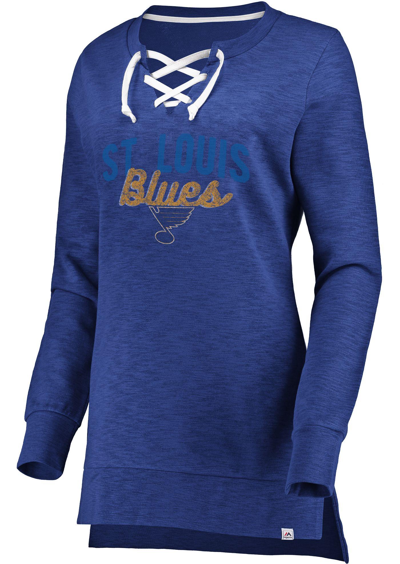 Majestic Women's St. Louis Blues Hyper Lace Blue Long Sleeve Shirt