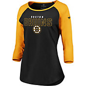 NHL Women's Boston Bruins Iconic Gold 3/4 Sleeve Shirt