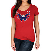 Majestic Women's Washington Capitals Trapezoid Red V-Neck T-Shirt