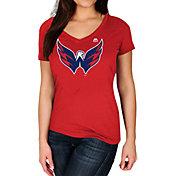 Majestic Women's Washington Capitals Trapezoid Red V-Neck T-Shirt