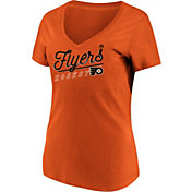 Majestic Women's Philadelphia Flyers Goal Cage Orange V-Neck T-Shirt