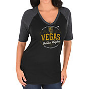 Majestic Women's Vegas Golden Knights Behind the Net Black 1/2 Sleeve T-Shirt