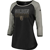NHL Women's Vegas Golden Knights Iconic Heather Grey 3/4 Sleeve Shirt