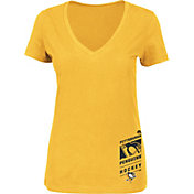 Majestic Women's Pittsburgh Penguins Stick 2 Stick Gold V-Neck T-Shirt