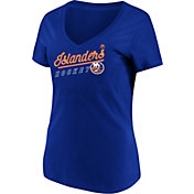 Majestic Women's New York Islanders Goal Cage Blue V-Neck T-Shirt