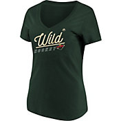 Majestic Women's Minnesota Wild Goal Cage Green V-Neck T-Shirt