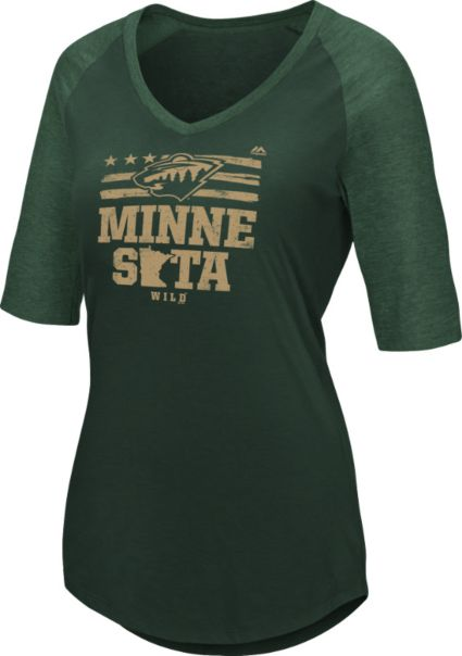 Majestic Women s Minnesota Wild My Team Green V-Neck T-Shirt. noImageFound 80e1faf973