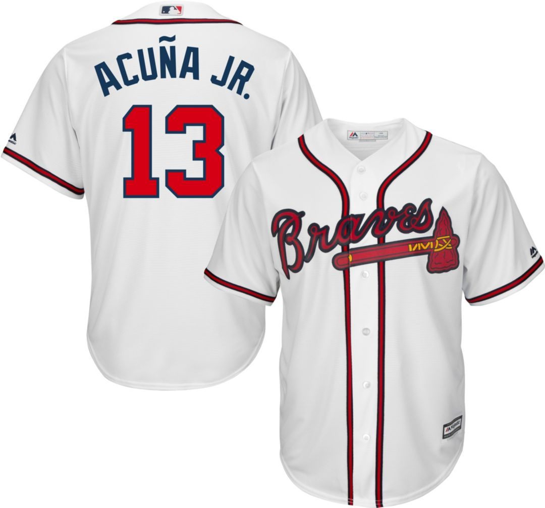 sale retailer 78cd2 822ce Youth Replica Atlanta Braves Ronald Acuña #13 Home White Jersey