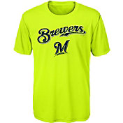 Majestic Youth Milwaukee Brewers Glowing Game Neon T-Shirt