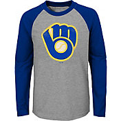 Majestic Youth Milwaukee Brewers Glory Days Raglan Long Sleeve Shirt