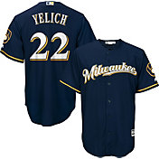 Majestic Youth Replica Milwaukee Brewers Christian Yelich #22 Cool Base Alternate Navy Jersey