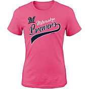 Majestic Youth Girls' Milwaukee Brewers Tail Sweep Pink T-Shirt