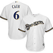Majestic Youth Replica Milwaukee Brewers Lorenzo Cain #6 Cool Base Home White Jersey