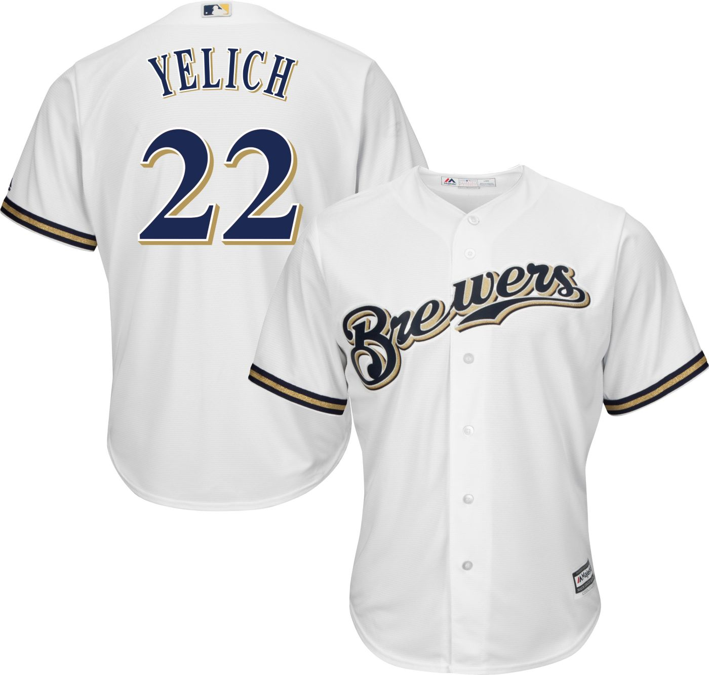 Majestic Youth Replica Milwaukee Brewers Christian Yelich #22 Cool Base Home White Jersey