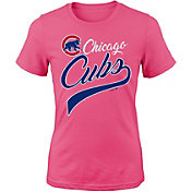 Majestic Youth Girls' Chicago Cubs Tail Sweep Pink T-Shirt