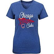 Majestic Youth Girls' Chicago Cubs Banner V-Neck T-Shirt