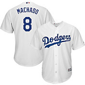 Majestic Youth Replica Los Angeles Dodgers Manny Machado #8 Cool Base Home White Jersey