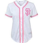 Majestic Youth Girls' San Francisco Giants White/Pink Fashion Jersey