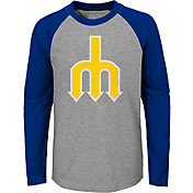 Majestic Youth Seattle Mariners Glory Days Raglan Long Sleeve Shirt