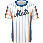 Majestic Youth New York Mets White Pinstriped Performance T-Shirt