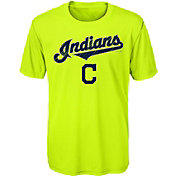 Majestic Youth Cleveland Indians Glowing Game Neon T-Shirt