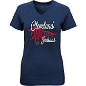 Majestic Youth Girls' Cleveland Indians Banner V-Neck T-Shirt