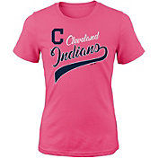 Majestic Youth Girls' Cleveland Indians Tail Sweep Pink T-Shirt