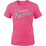 Majestic Youth Girls' Washington Nationals Tail Sweep Pink T-Shirt