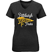 Majestic Youth Girls' Pittsburgh Pirates Banner V-Neck T-Shirt