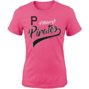 Majestic Youth Girls' Pittsburgh Pirates Tail Sweep Pink T-Shirt