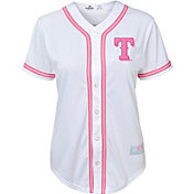 Majestic Youth Girls' Texas Rangers White/Pink Fashion Jersey