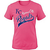 Majestic Youth Girls' Kansas City Royals Tail Sweep Pink T-Shirt