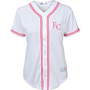 Majestic Youth Girls' Kansas City Royals White/Pink Fashion Jersey