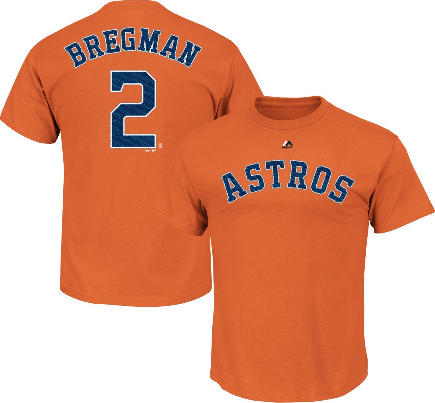 Majestic Youth Houston Astros Alex Bregman #2 Orange T-Shirt