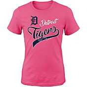 Majestic Youth Girls' Detroit Tigers Tail Sweep Pink T-Shirt