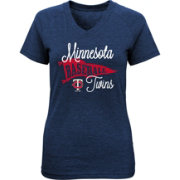 Majestic Youth Girls' Minnesota Twins Banner V-Neck T-Shirt