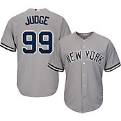 Majestic Youth Replica New York Yankees Aaron Judge #99 Cool Base Road Grey Jersey