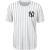 Majestic Youth New York Yankees White Pinstriped Performance T-Shirt