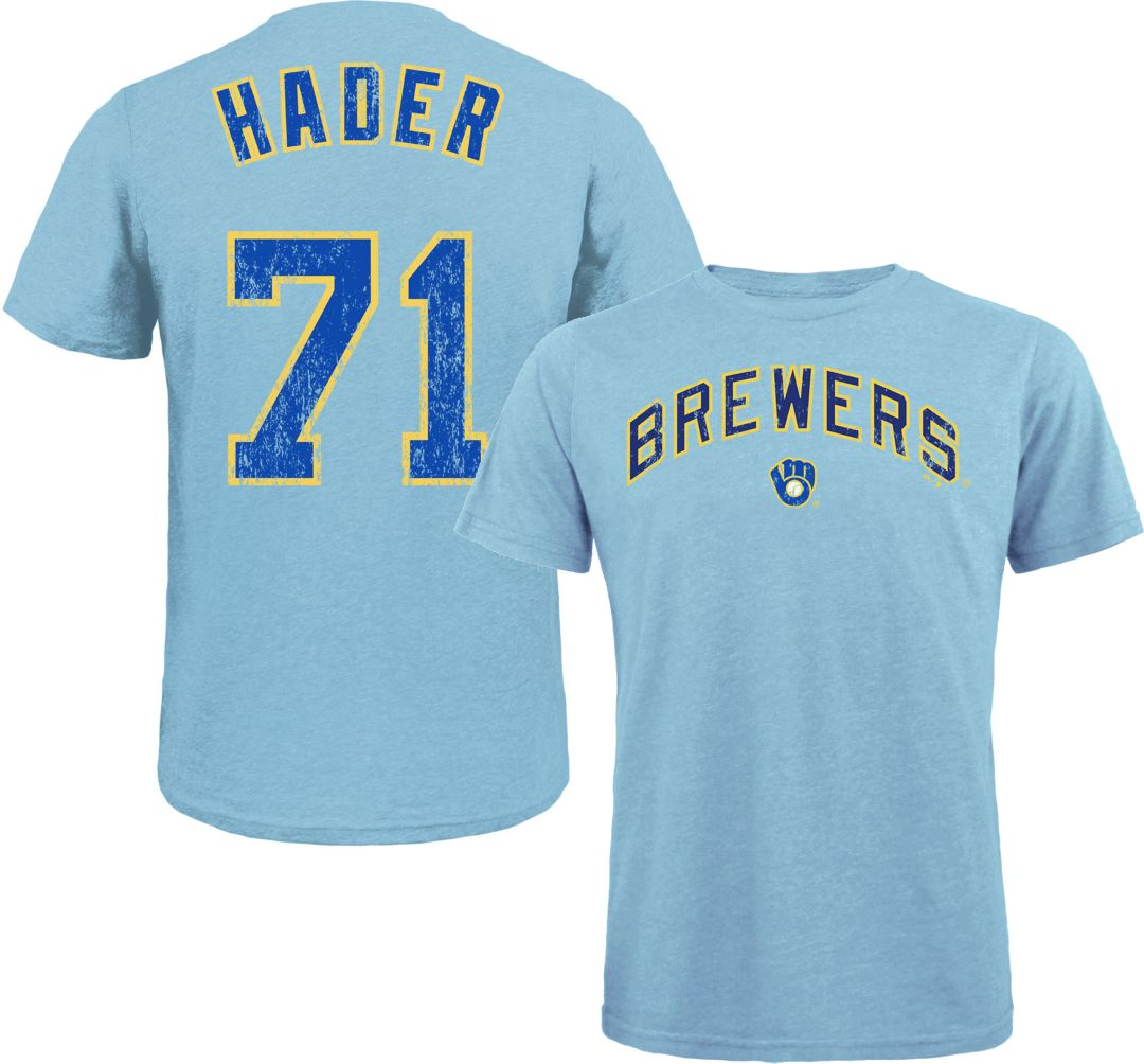 huge discount abed2 5aad5 Majestic Threads Men's Milwaukee Brewers Josh Hader Tri-Blend T-Shirt