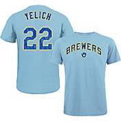 Majestic Threads Men's Milwaukee Brewers Christian Yelich Tri-Blend T-Shirt
