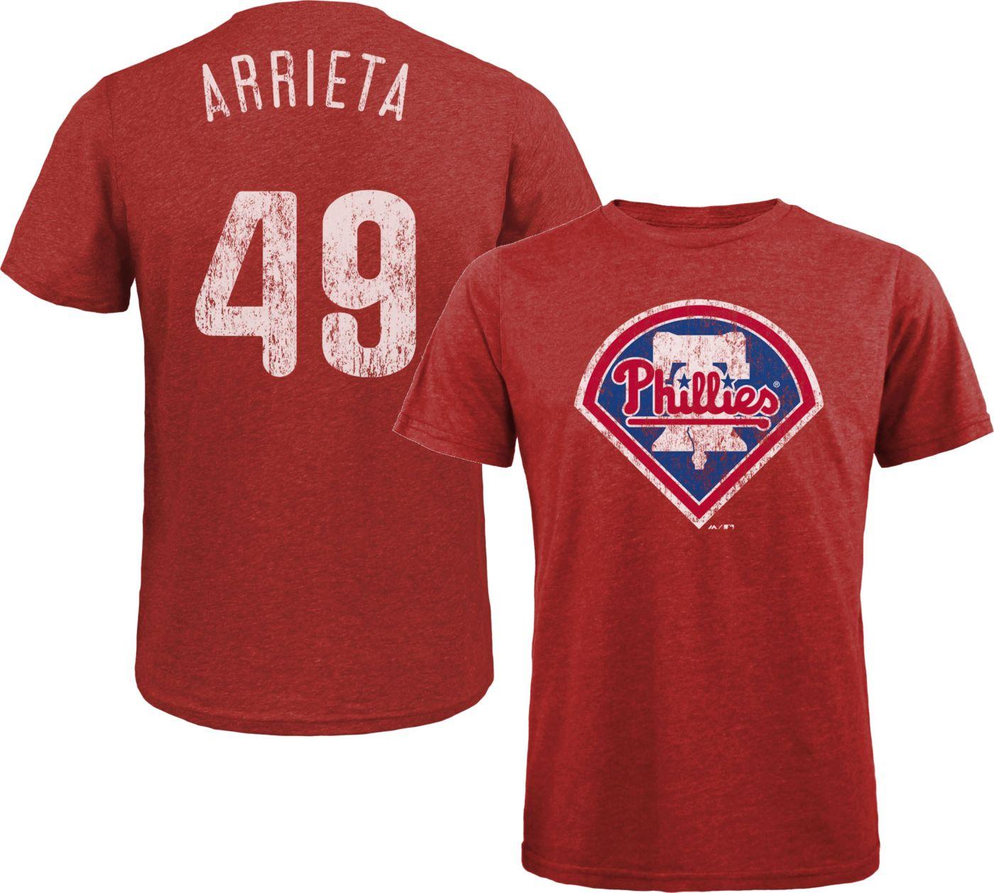Majestic Threads Men's Philadelphia Phillies Jake Arrieta Tri-Blend T-Shirt