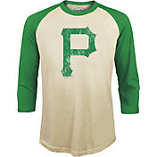 Majestic Threads Men's Pittsburgh Pirates St. Patrick's Day Raglan Three-Quarter Shirt