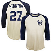 Majestic Threads Men's New York Yankees Giancarlo Stanton Raglan Three-Quarter Shirt
