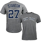 Majestic Threads Men's New York Yankees Giancarlo Stanton #27 Grey Tri-Blend T-Shirt