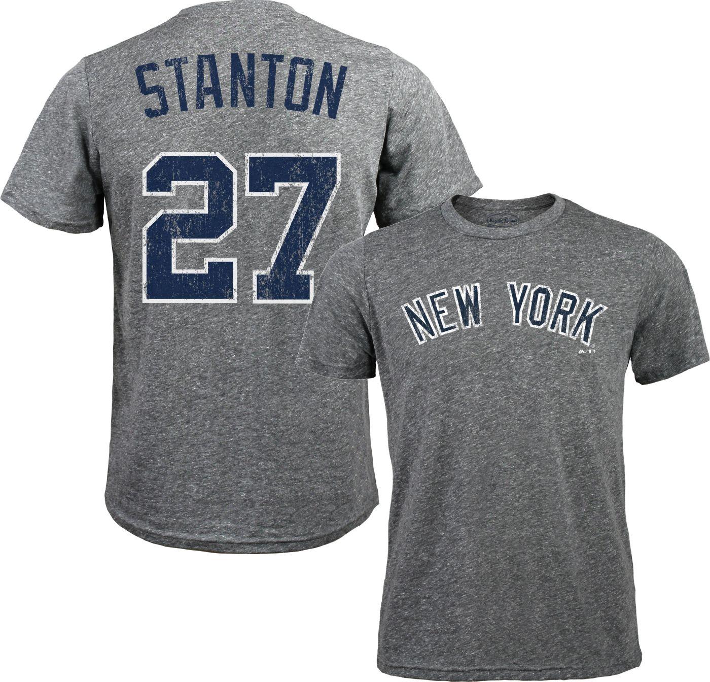 Majestic Threads Men's New York Yankees Giancarlo Stanton #27 Grey Tri-Blend T-Shirt