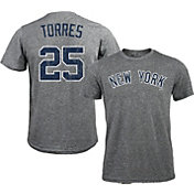 Majestic Threads Men's New York Yankees Gleyber Torres #25 Grey Tri-Blend T-Shirt