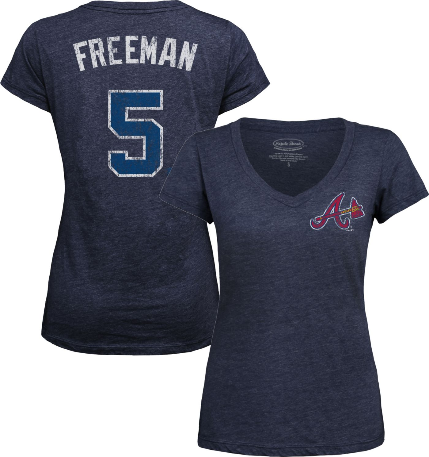 Majestic Threads Women's Atlanta Braves Freddie Freeman Navy V-Neck T-Shirt